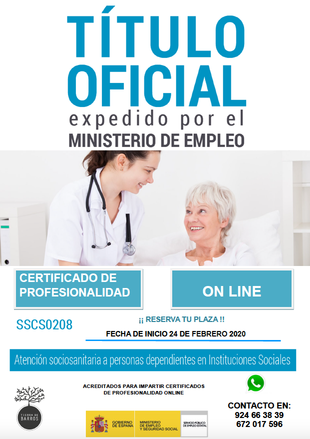Título oficial expedido por el Ministerio de Empleo en Centro de Formación Tierra de Barros, para la obtención del Certificado Profesional de Cuidado de Personas Dependientes en Instituciones Sociales